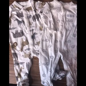 set of 2 baby footsie pajamas size 3 months